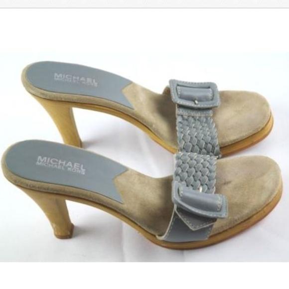 c80ed17cb32 Michael Kors Blue Woven Leather High Heel Sandals.  M 5b194e954ab6335f125d7b78